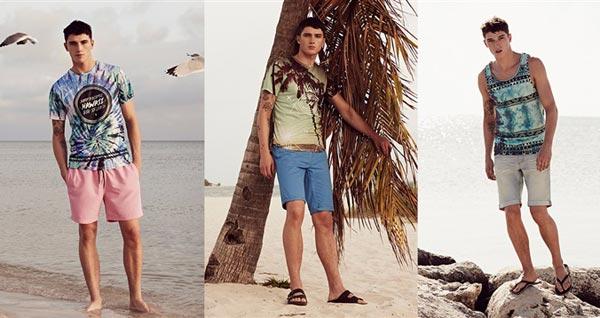 camiseta tie-dye 8€, camiseta con estampado de palmera 8€, camiseta de tirantes tie-dye 7€, vaqueros cortos 10€, chanclas 1,50€