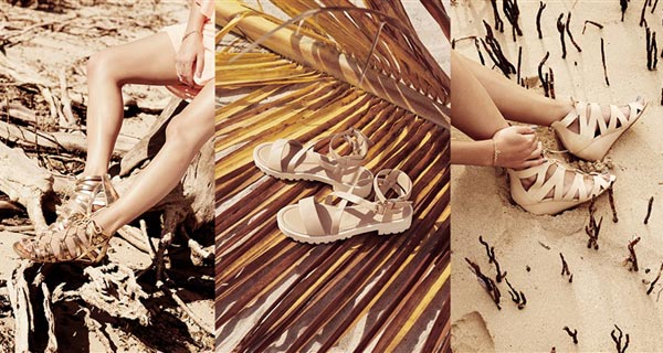 Sandalias doradas 13 €, sandalias beige 13 €, sandalias con tacón 18 €