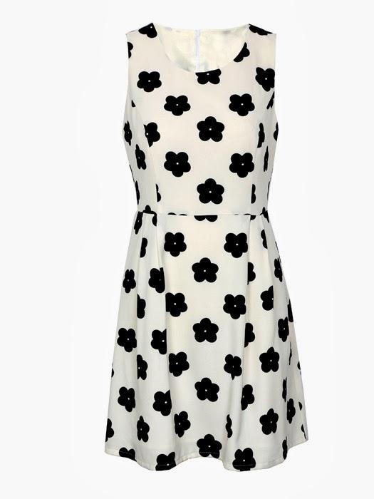 Vestido blanco con flores negras