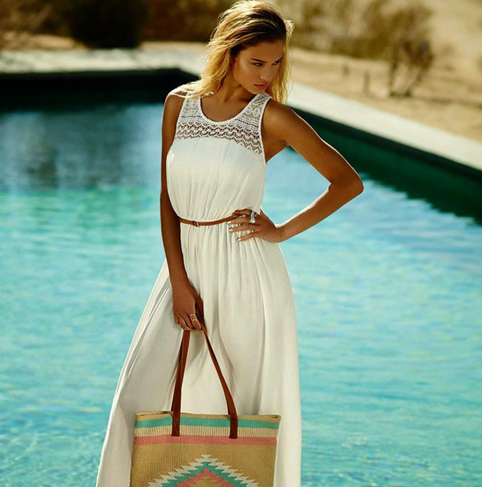 8401265de Vestido blanco del catálogo de Primark online primavera verano 2014. Vestido  blanco y largo con encaje en el escote a la venta en tiendas Primark España.