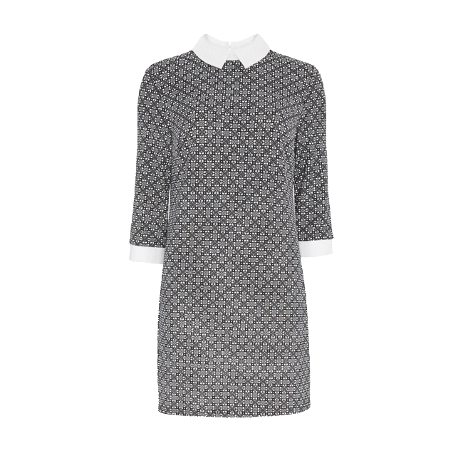 227a9c615 Vestido estampado del catálogo de ropa de Primark online para el Otoño  2014. Vestido estampado en blanco y negro con cuello en blanco y de crepe a  la venta ...
