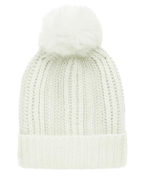 gorro de lana con pompn del catlogo de primark online de mujer para gorro de lana en color blanco con pompn de pelo largo a la